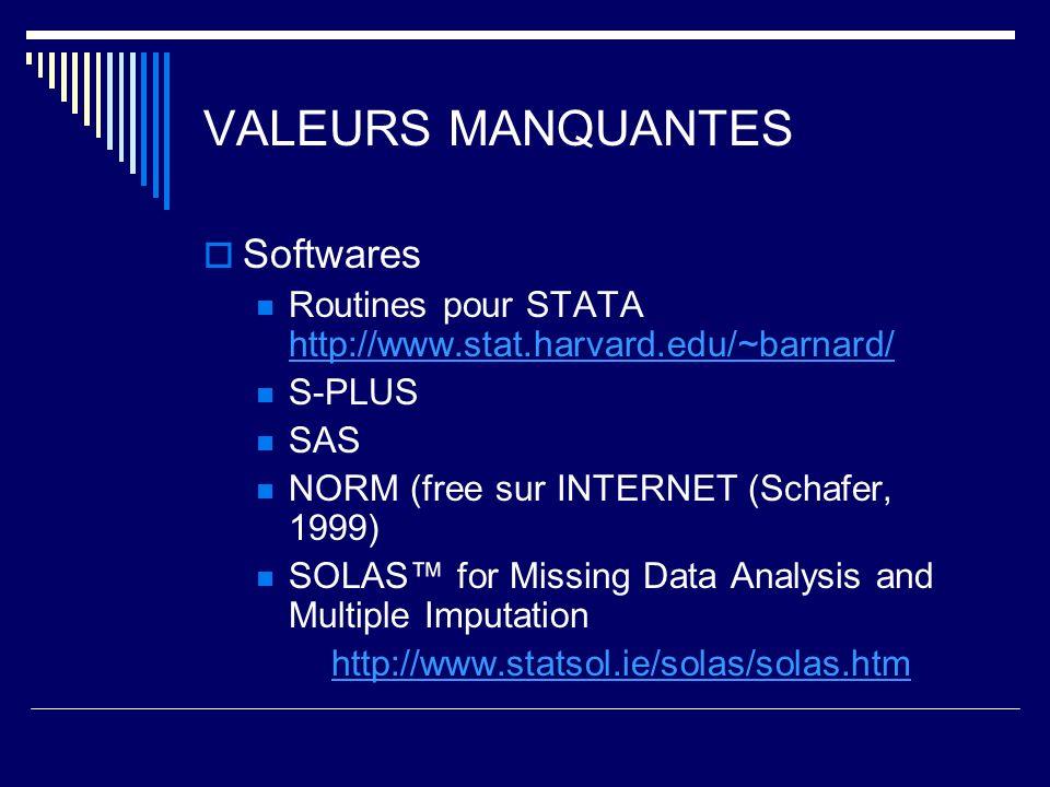 VALEURS MANQUANTES Softwares