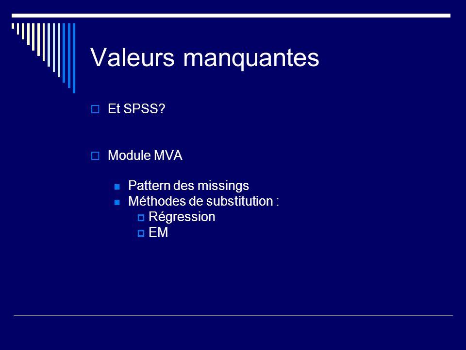 Valeurs manquantes Et SPSS Module MVA Pattern des missings