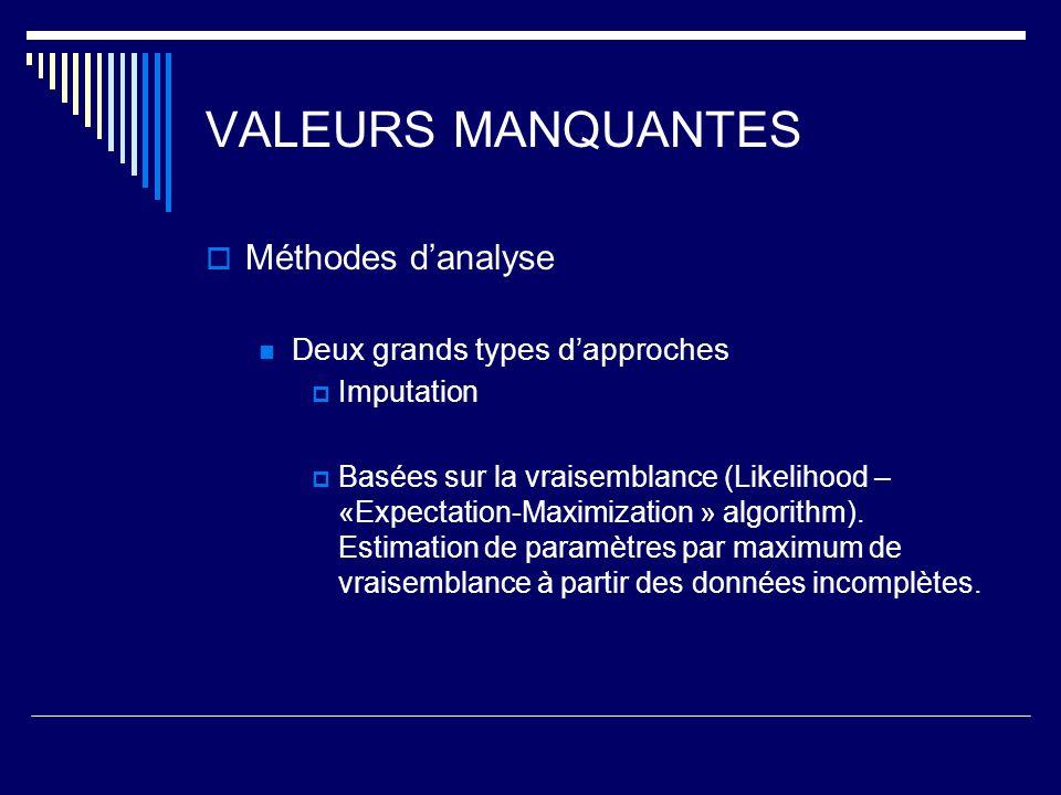 VALEURS MANQUANTES Méthodes d'analyse Deux grands types d'approches