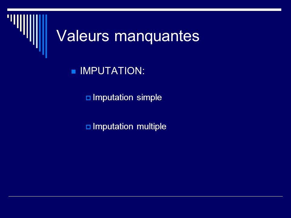 Valeurs manquantes IMPUTATION: Imputation simple Imputation multiple