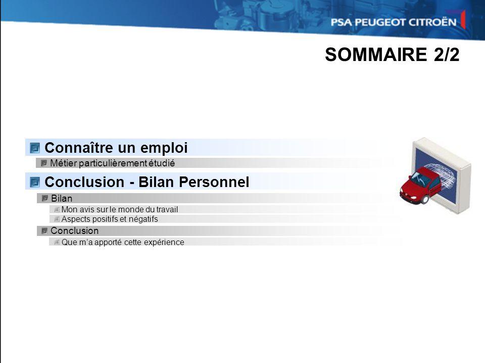 SOMMAIRE 2/2 Connaître un emploi Conclusion - Bilan Personnel