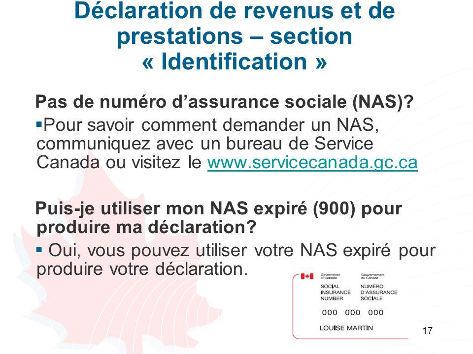 Déclaration de revenus et de prestations – section « Identification »