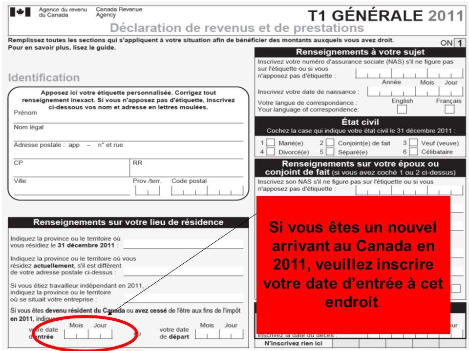 Si vous êtes un nouvel arrivant au Canada en 2011, veuillez inscrire votre date d'entrée à cet endroit.