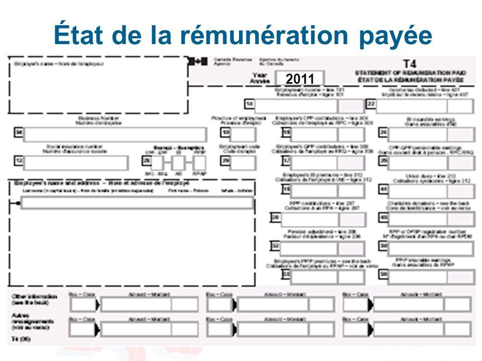 État de la rémunération payée