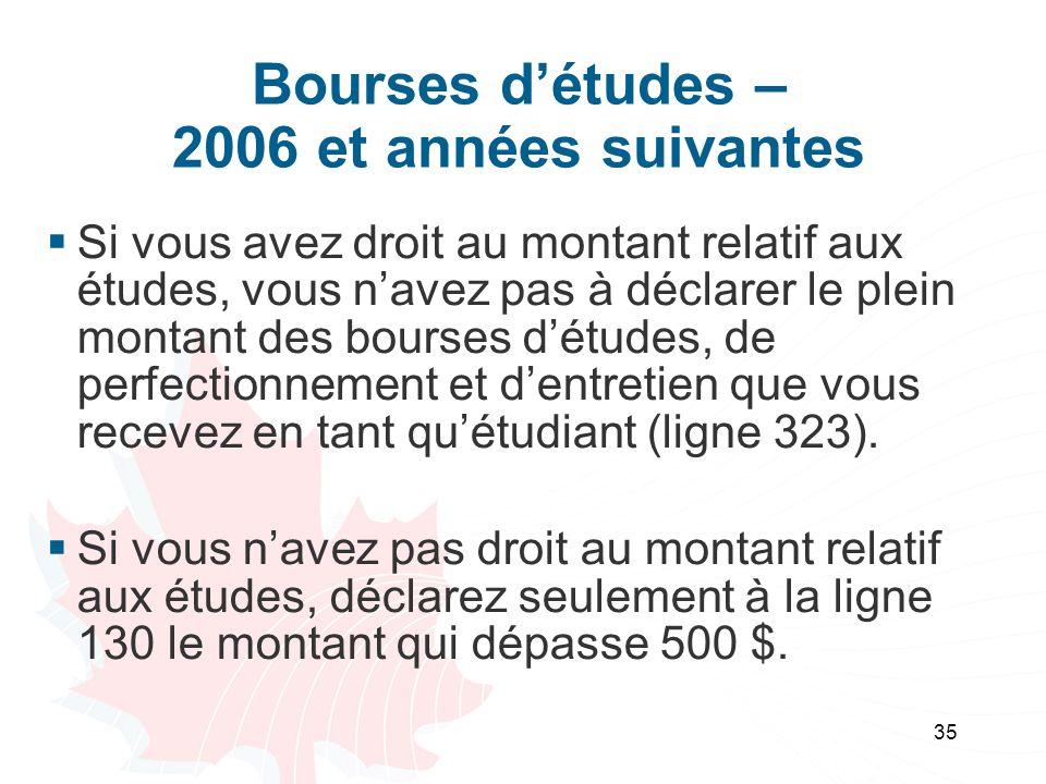 Bourses d'études – 2006 et années suivantes