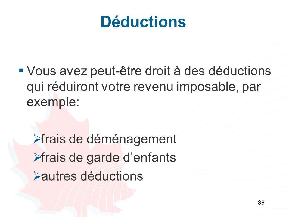 Déductions Vous avez peut-être droit à des déductions qui réduiront votre revenu imposable, par exemple: