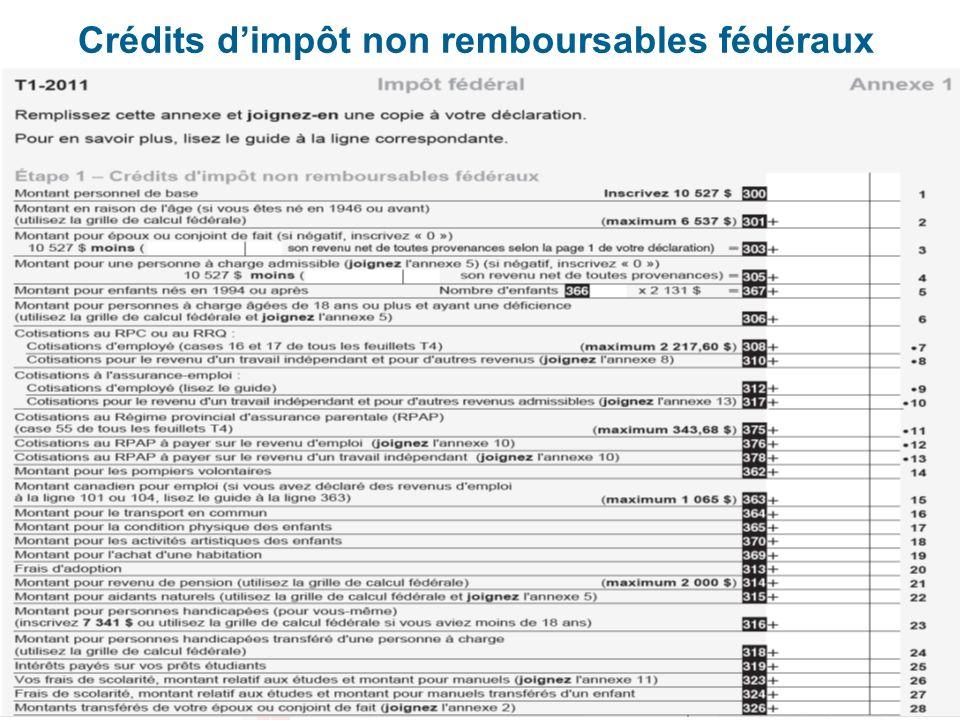 Crédits d'impôt non remboursables fédéraux