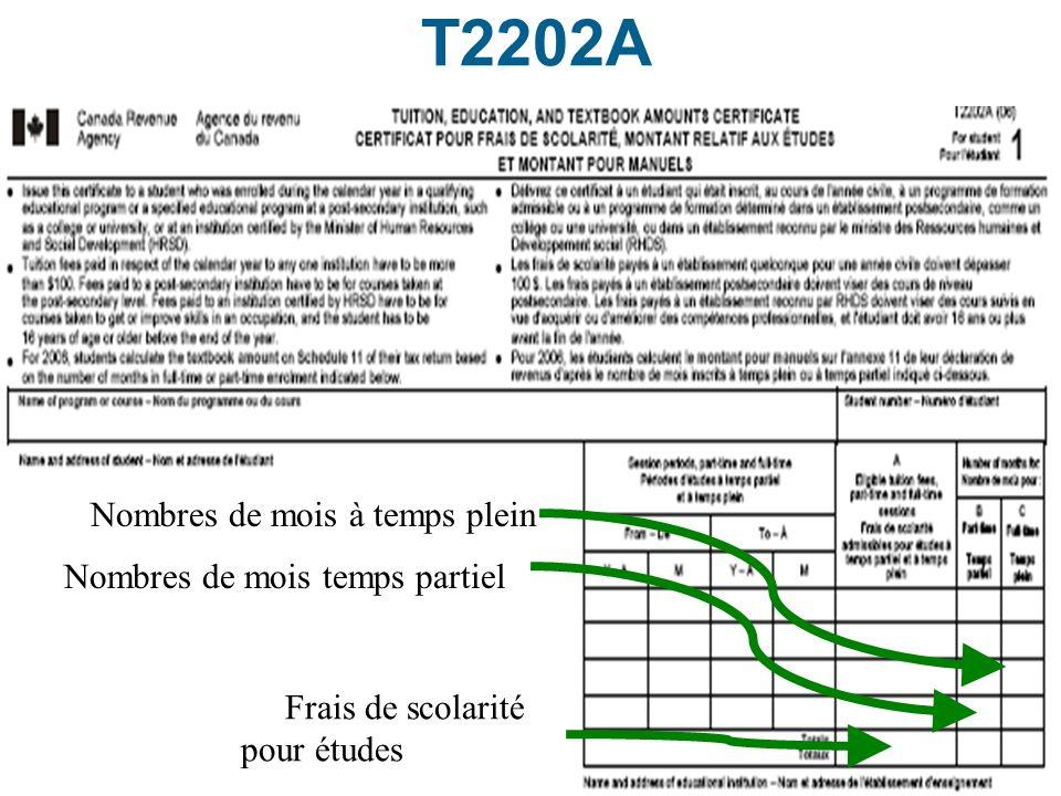 T2202A Nombres de mois à temps plein Nombres de mois temps partiel
