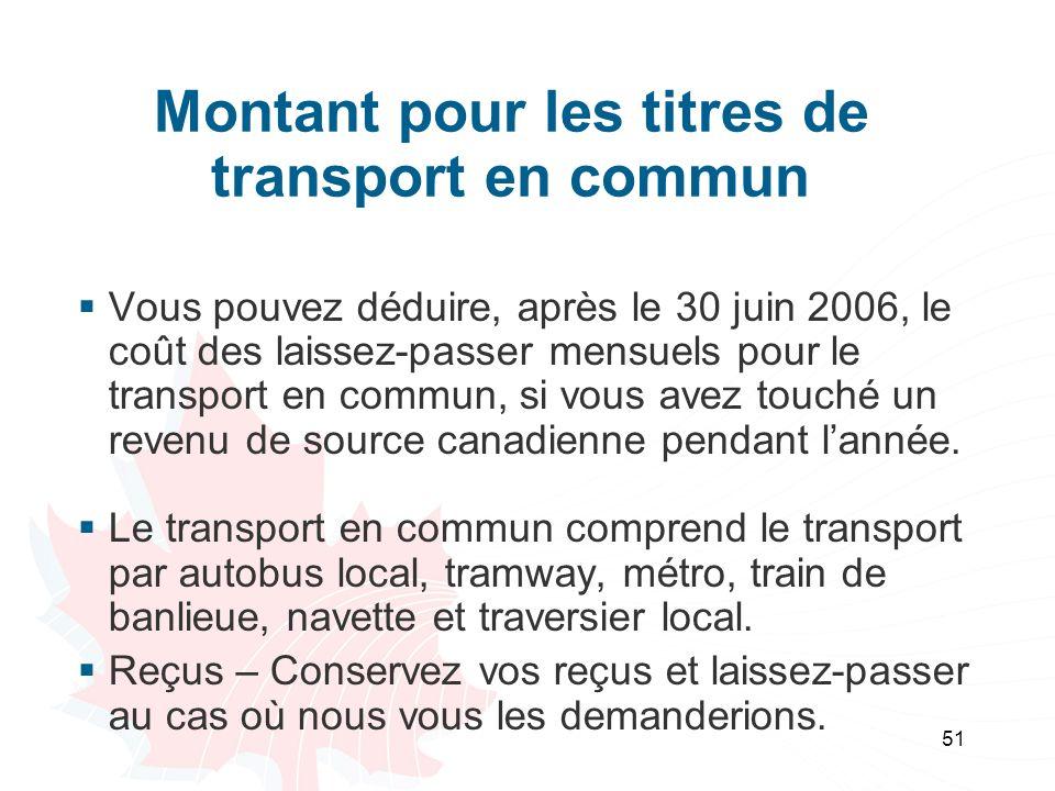 Montant pour les titres de transport en commun