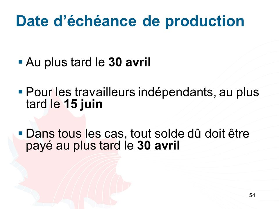 Date d'échéance de production