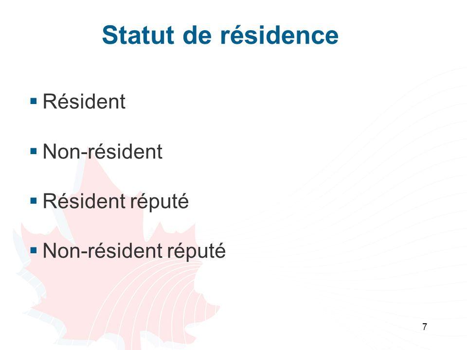 Statut de résidence Résident Non-résident Résident réputé