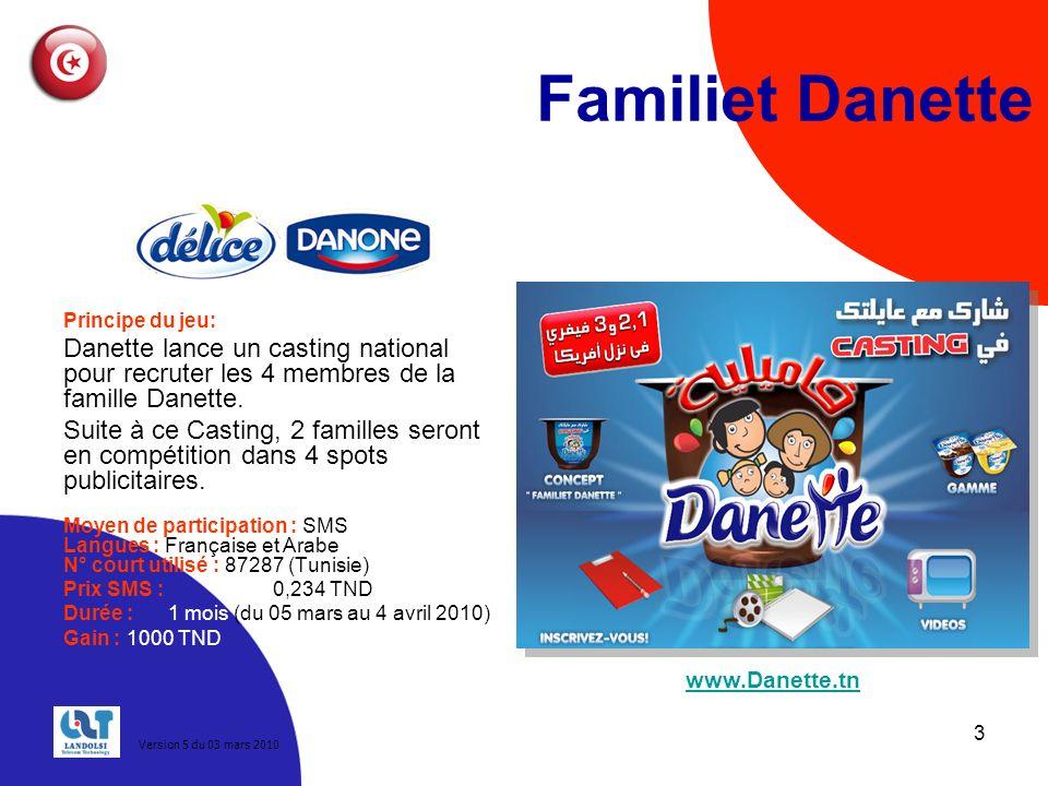 Familiet Danette Principe du jeu: Danette lance un casting national pour recruter les 4 membres de la famille Danette.
