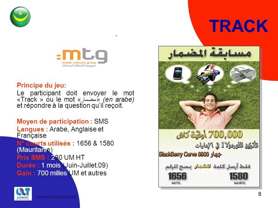 TRACK Principe du jeu: Le participant doit envoyer le mot «Track » ou le mot «مضمار» (en arabe) et répondre à la question qu'il reçoit.