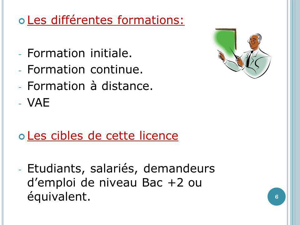 Les différentes formations: