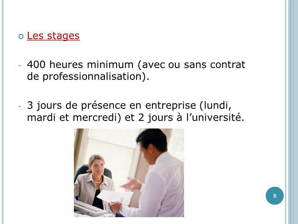 Les stages 400 heures minimum (avec ou sans contrat de professionnalisation).