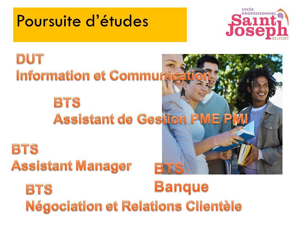 Poursuite d'études BTS Banque DUT Information et Communication BTS