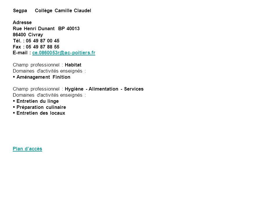 Segpa Collège Camille Claudel