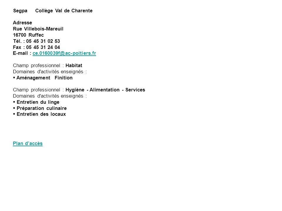 Segpa Collège Val de Charente