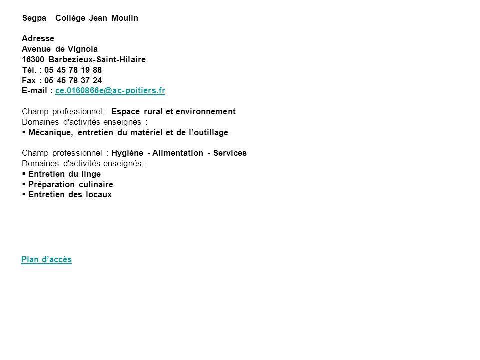Segpa Collège Jean Moulin