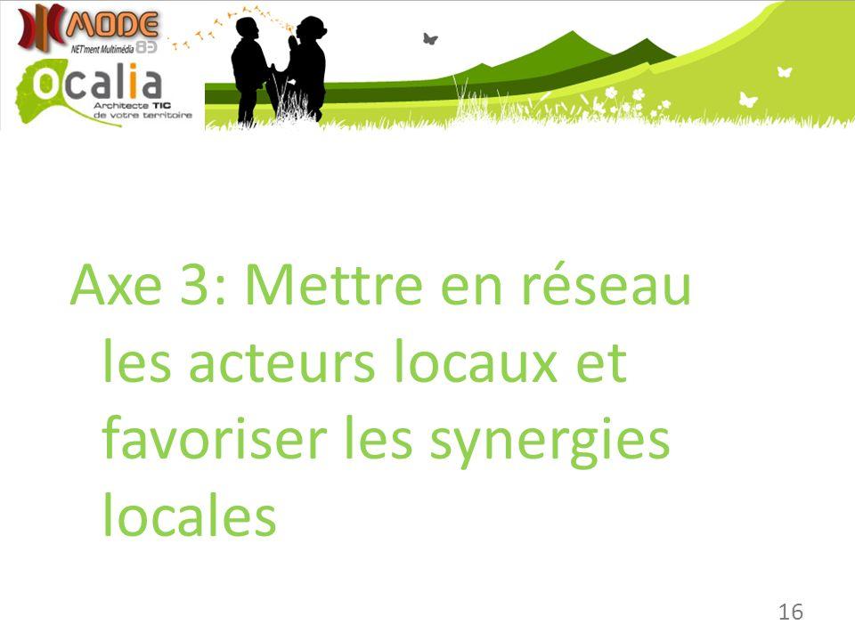 Axe 3: Mettre en réseau les acteurs locaux et favoriser les synergies locales