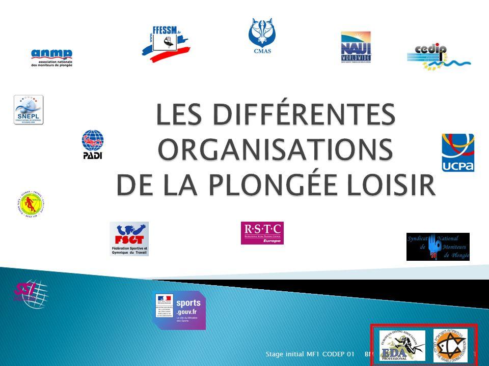 LES DIFFÉRENTES ORGANISATIONS DE LA PLONGÉE LOISIR
