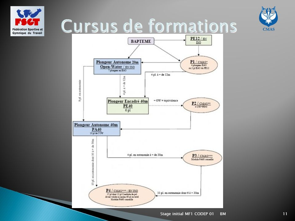 Cursus de formations Stage initial MF1 CODEP 01 BM