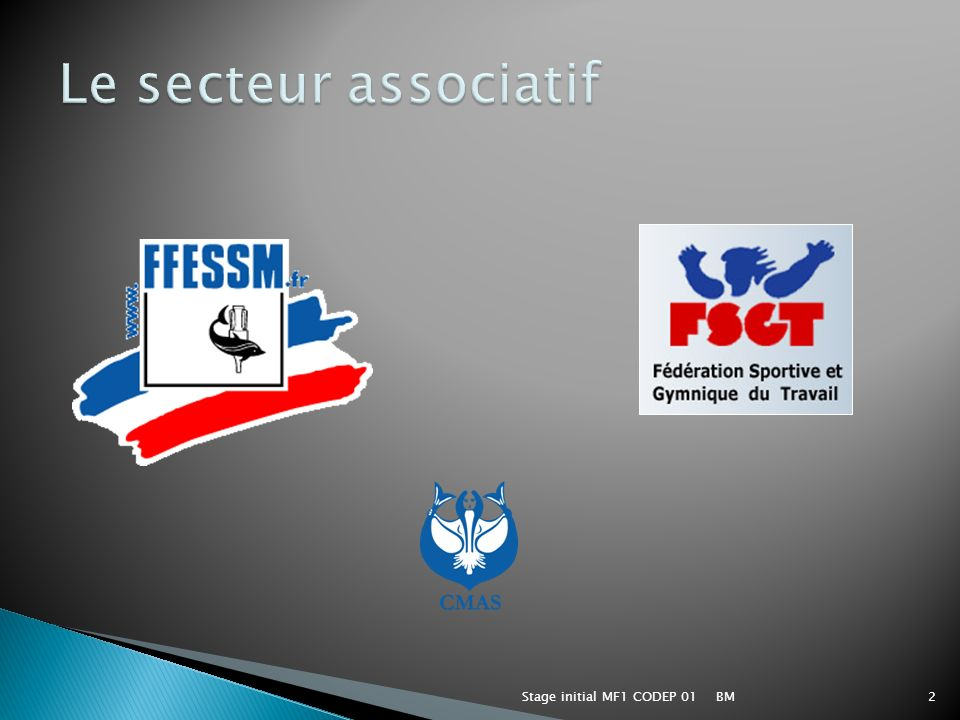 Le secteur associatif Stage initial MF1 CODEP 01 BM