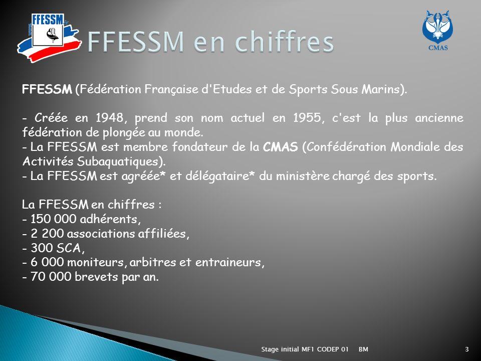FFESSM en chiffres FFESSM (Fédération Française d Etudes et de Sports Sous Marins).