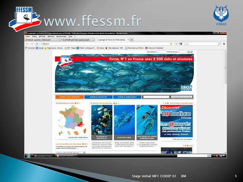 www.ffessm.fr Stage initial MF1 CODEP 01 BM