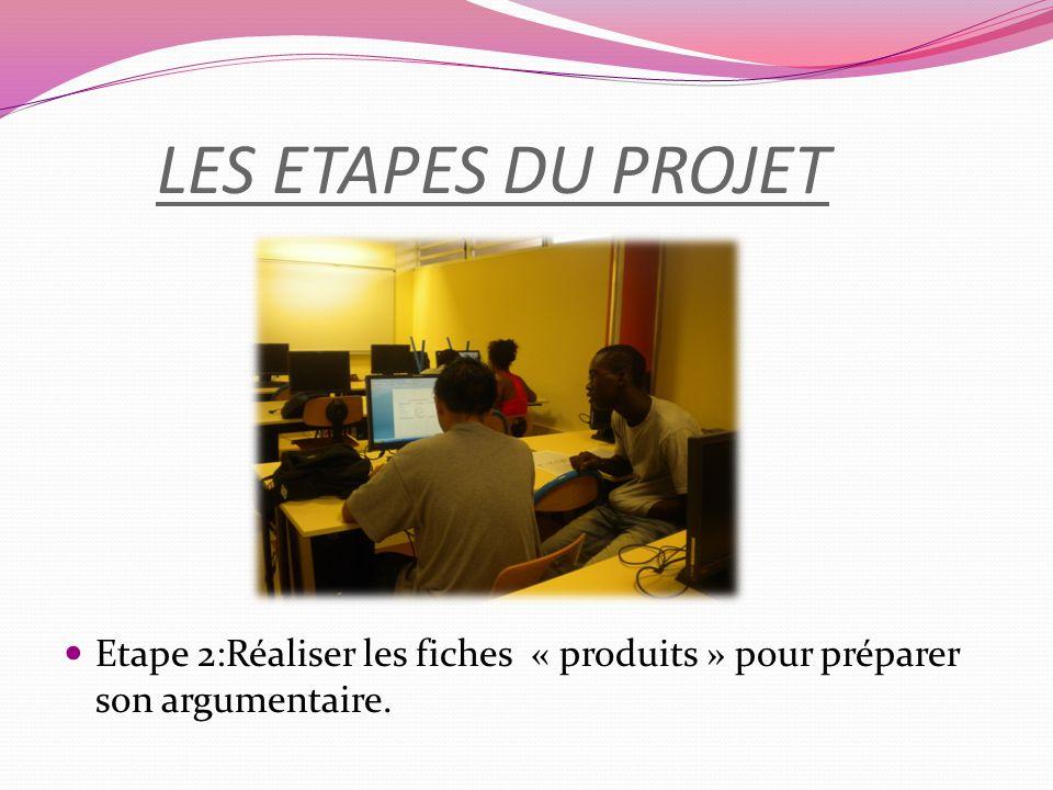 LES ETAPES DU PROJET Etape 2:Réaliser les fiches « produits » pour préparer son argumentaire.