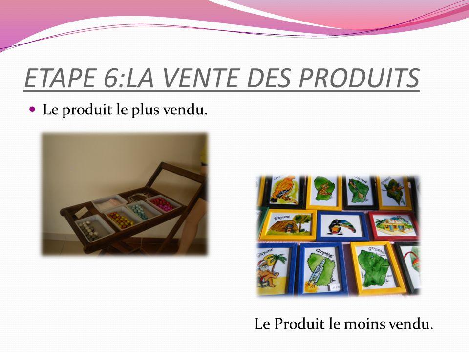 ETAPE 6:LA VENTE DES PRODUITS