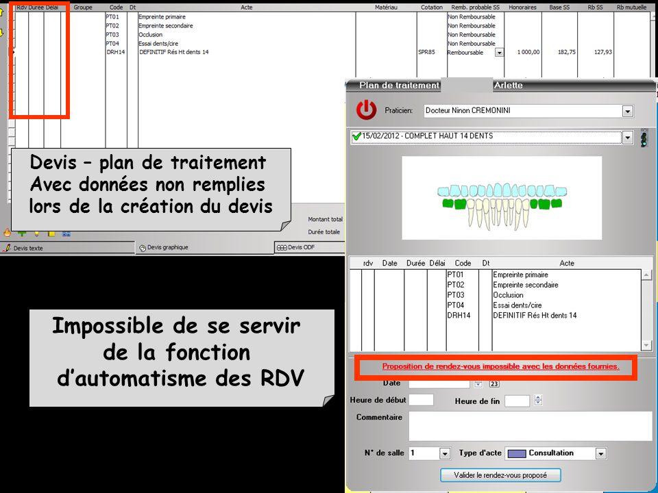 Impossible de se servir de la fonction d'automatisme des RDV