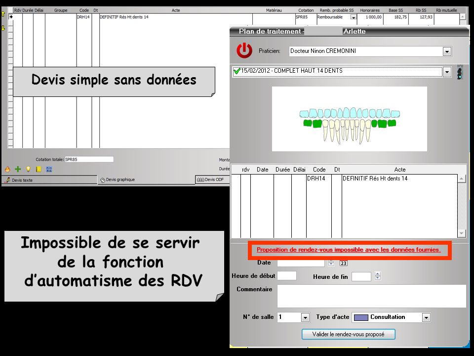 Devis simple sans données Impossible de se servir
