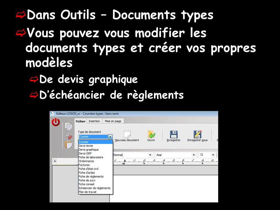 Dans Outils – Documents types