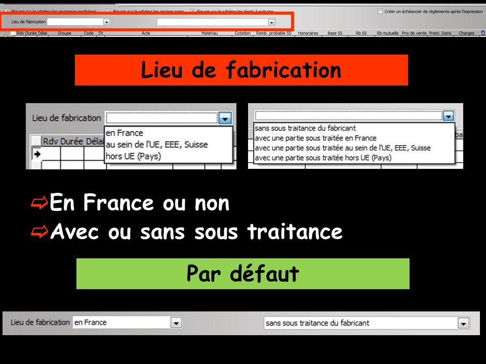 Lieu de fabrication En France ou non Avec ou sans sous traitance Par défaut