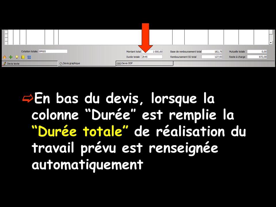En bas du devis, lorsque la colonne Durée″ est remplie la Durée totale de réalisation du travail prévu est renseignée automatiquement