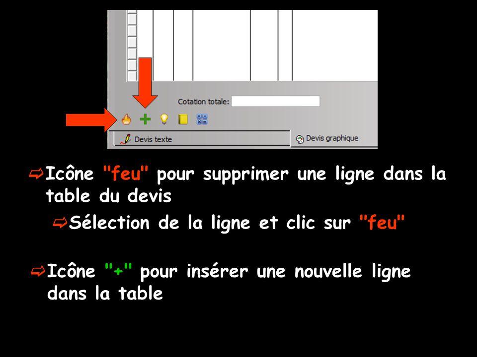 Icône feu pour supprimer une ligne dans la table du devis