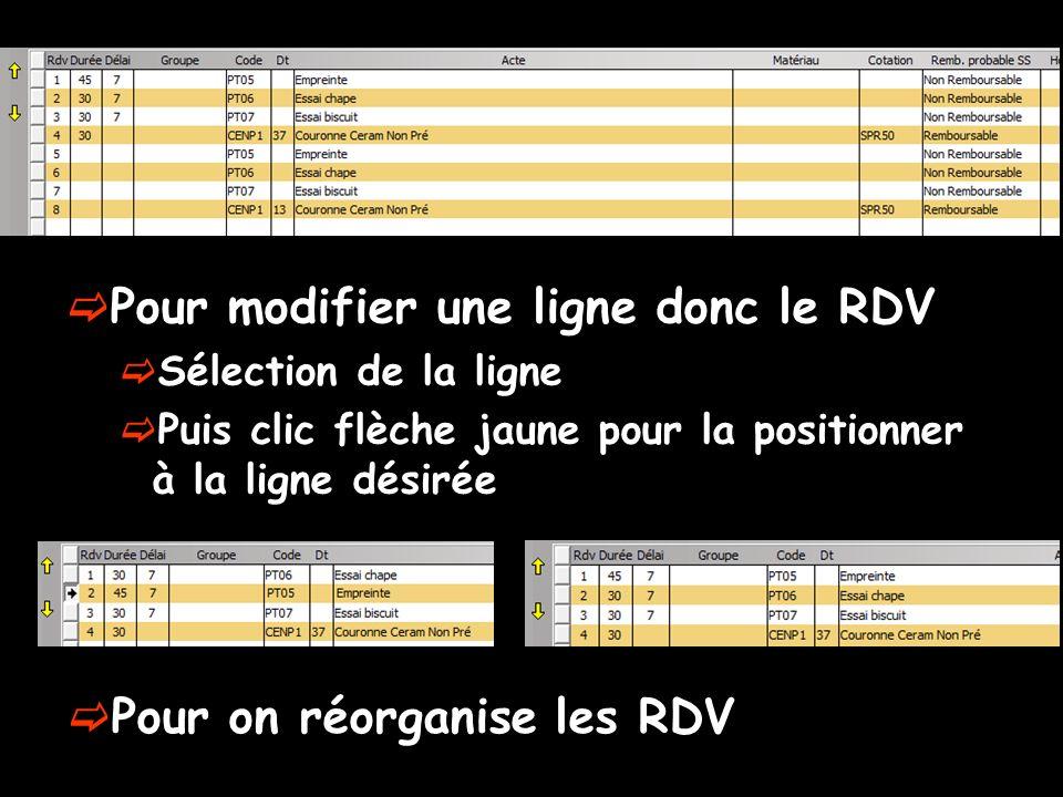 Pour modifier une ligne donc le RDV