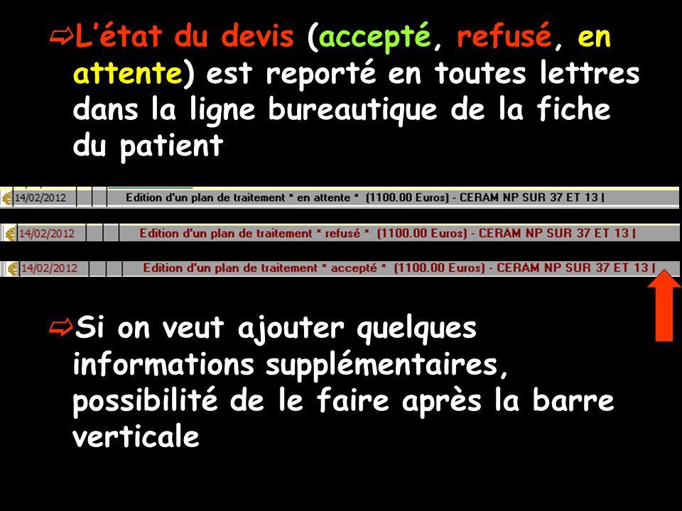 L'état du devis (accepté, refusé, en attente) est reporté en toutes lettres dans la ligne bureautique de la fiche du patient
