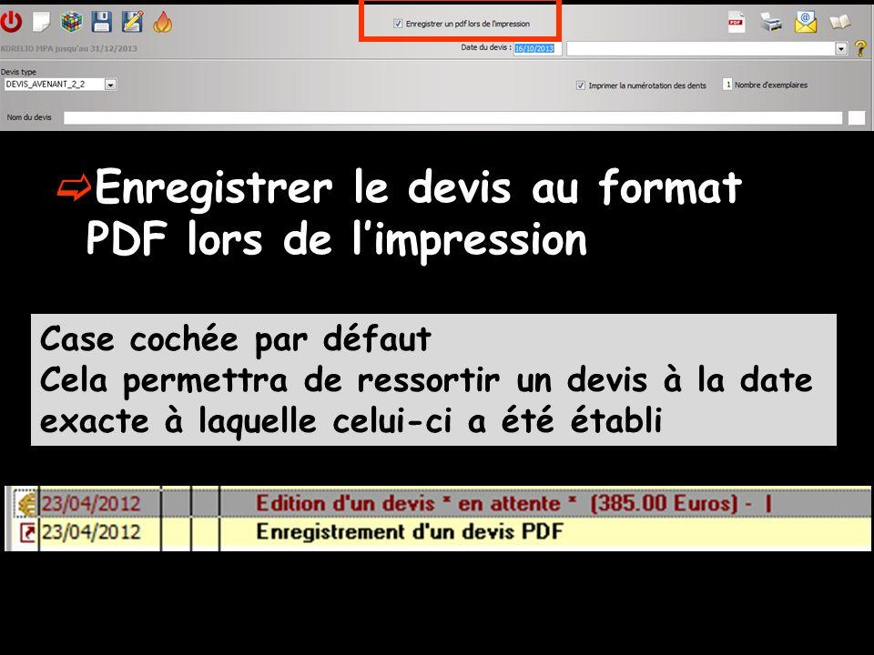 Enregistrer le devis au format PDF lors de l'impression