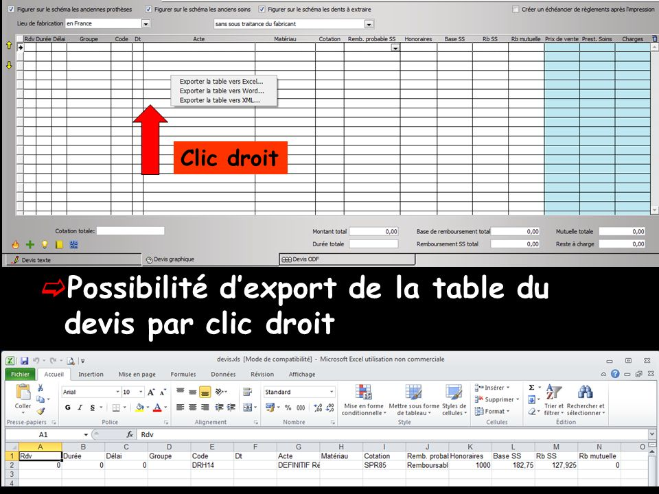 Possibilité d'export de la table du devis par clic droit
