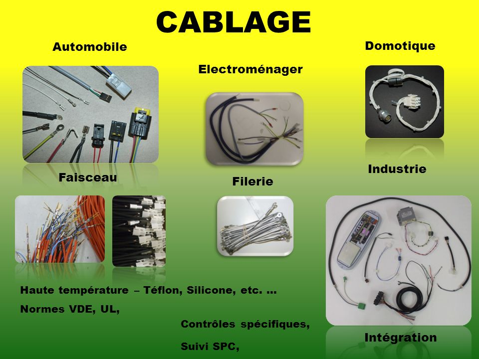 CABLAGE Automobile Domotique Electroménager Industrie Faisceau Filerie