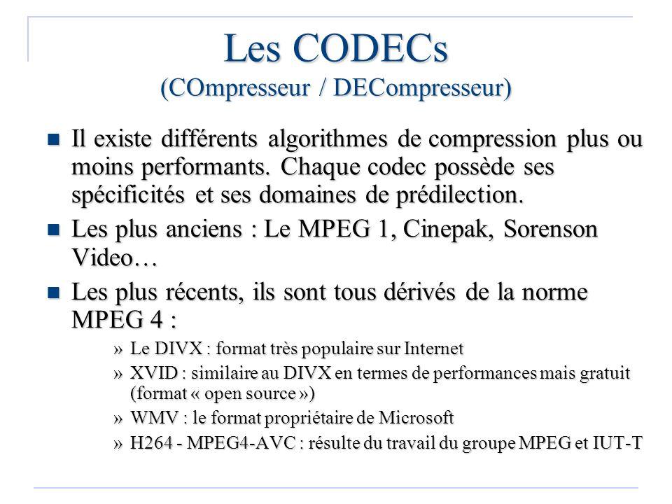 Les CODECs (COmpresseur / DECompresseur)