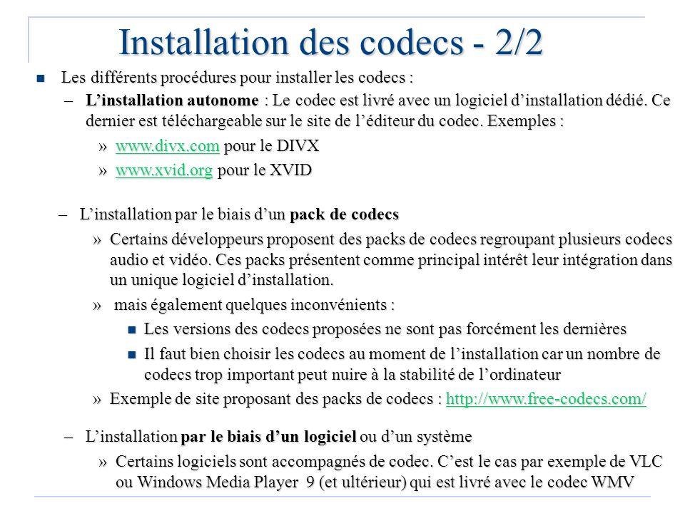 Installation des codecs - 2/2