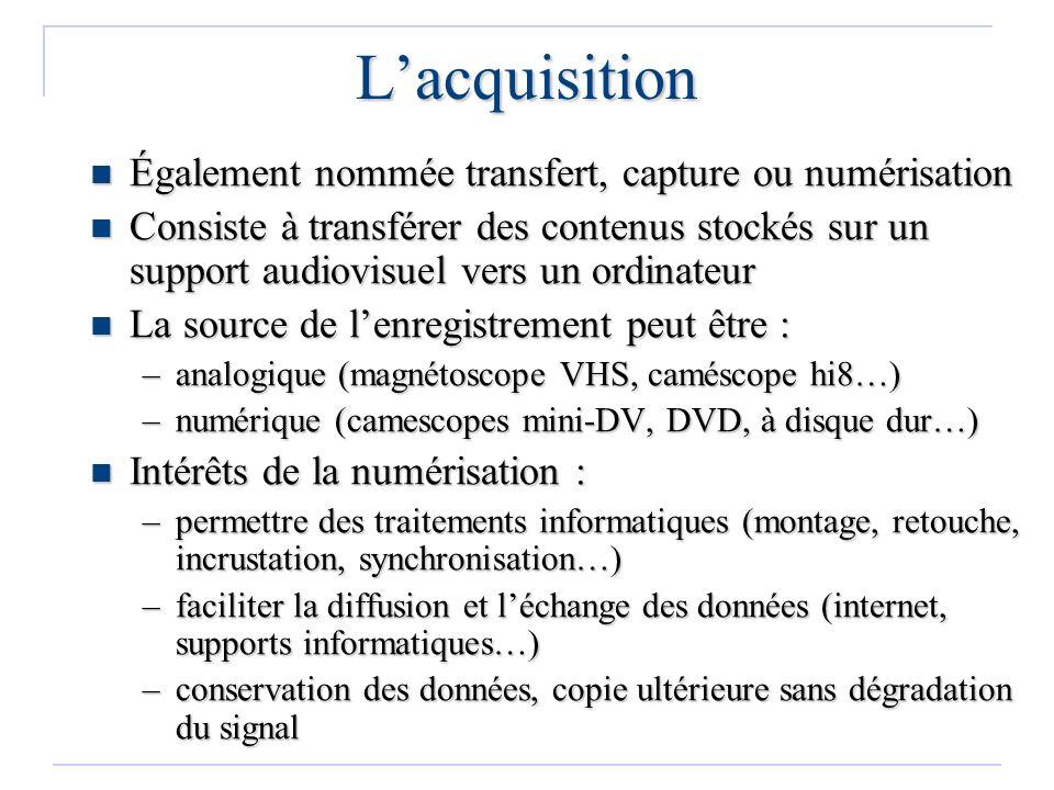 L'acquisition Également nommée transfert, capture ou numérisation