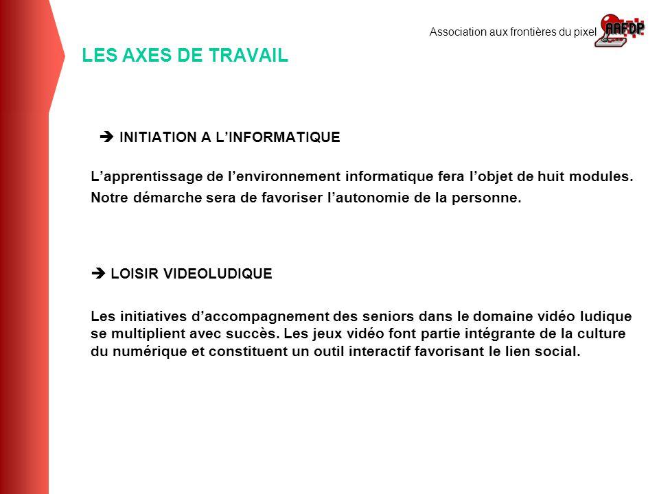 LES AXES DE TRAVAIL  INITIATION A L'INFORMATIQUE