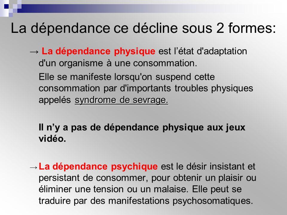 La dépendance ce décline sous 2 formes: