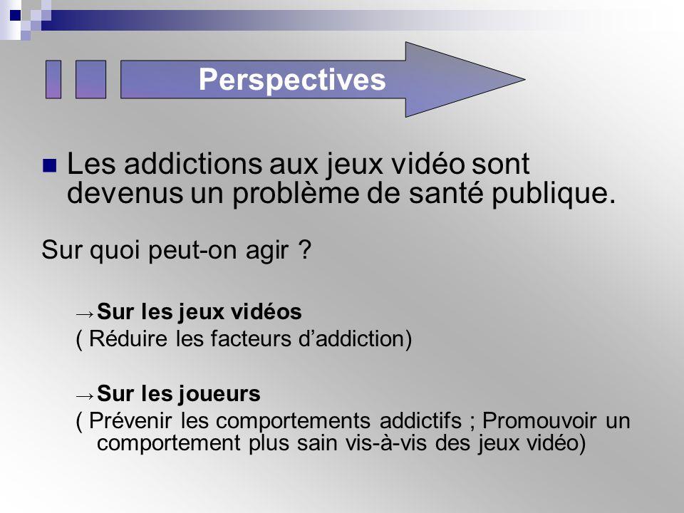 Perspectives Les addictions aux jeux vidéo sont devenus un problème de santé publique. Sur quoi peut-on agir