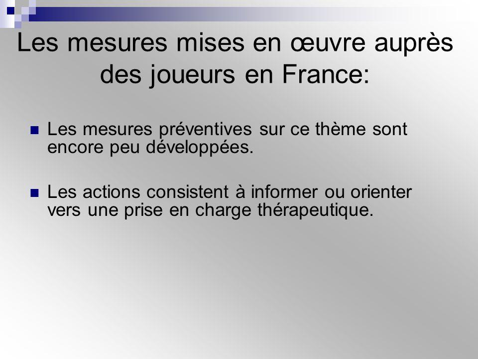 Les mesures mises en œuvre auprès des joueurs en France: