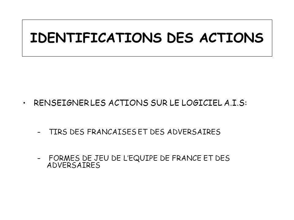 IDENTIFICATIONS DES ACTIONS